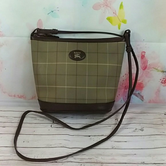 Burberry Handbags - Auth Burberry Brown Green Canvas Crossbody Bag. 45db03d0e8dfa